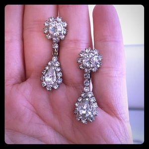 Clip on faux diamond drop earrings.